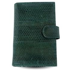 Зеленое портмоне для автодокументов из морской змеи