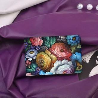 Визитница из кожи Цветы Жостово от FELIZ