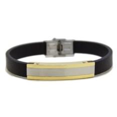 Кожаный браслет с серебристо-золотой пластиной