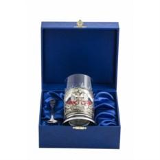 Синий набор для чая Герб России