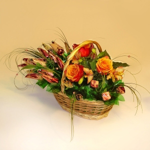«Мулен Руж» букет из конфет с цветами