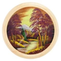 Панно на тарелке диаметром 50 см Осенний пейзаж