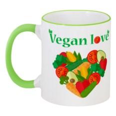 Кружка с цветной ручкой и ободком Vegan love