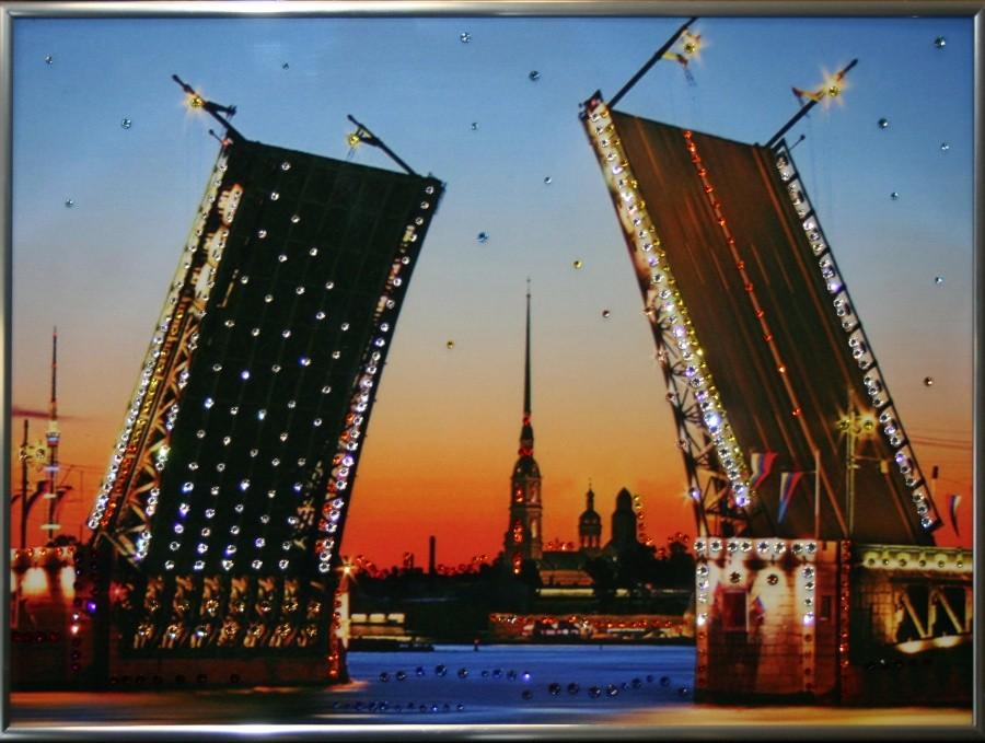 Картина с кристаллами Сваровски Дворцовый мост
