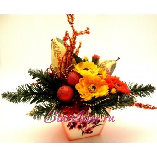 Новогодняя композиция с экзотическими фруктами