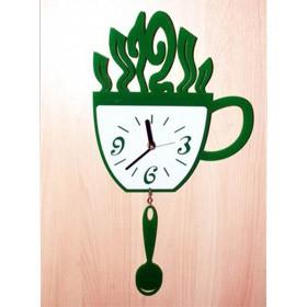 Часы настенные Кружка и ложка  зеленые