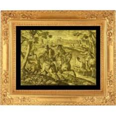 Старинная гравюра из золота 16-17 века с изображением охоты