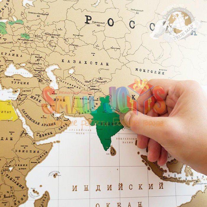 Стирательная карта мира для путешевственников True Map