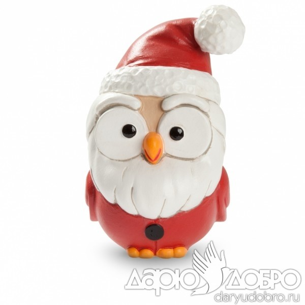 Керамическая статуэтка Сова Санта Клаус от Goofi