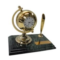 Мраморный настольный набор из ручки и часов золотого цвета