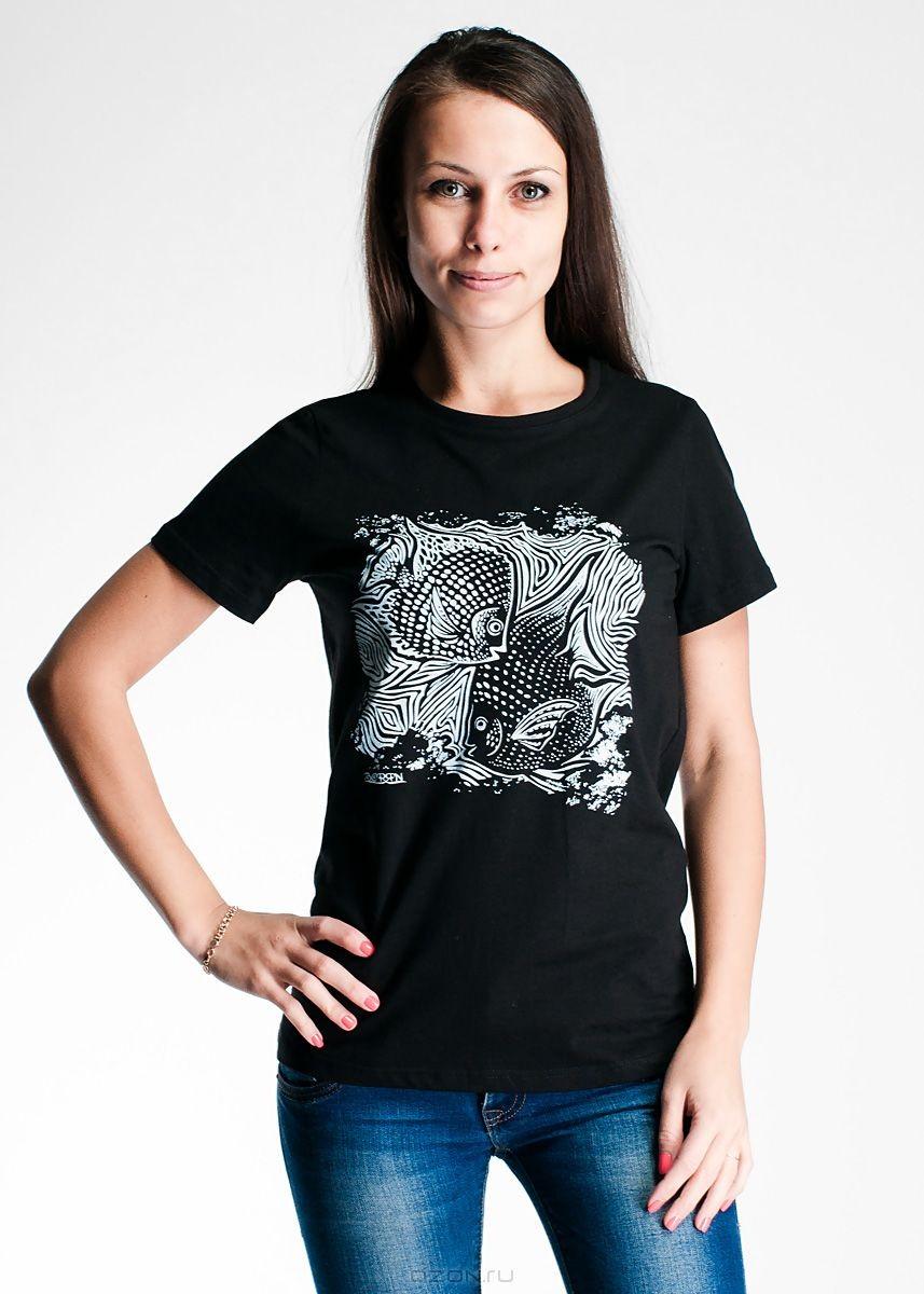 Женская футболка, черная с белым принтом