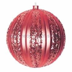 Елочная игрушка Полосатый шар красного цвета