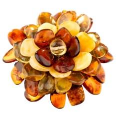 Брошь из янтаря Янтарный цветок