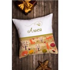 Декоративная подушка с именной вышивкой Лисичка