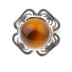 Кольцо из мельхиора с тигровым глазом Цветок