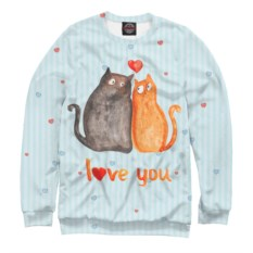Мужской свитшот Влюбленные коты