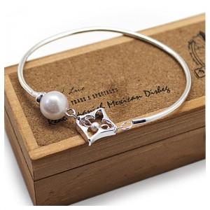 Браслет Slim silver & pearl