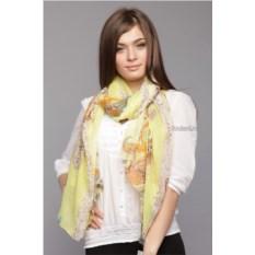 Лимонный женский палантин с узором пейсли Laura Milano