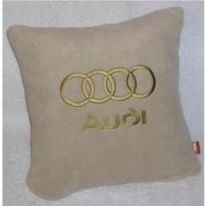Бежевая подушка с золотой вышивкой Audi