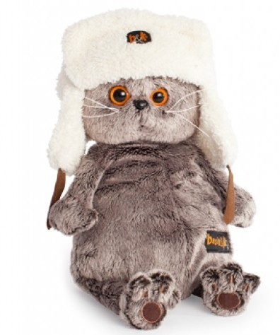 Мягкая игрушка Басик в шапке-ушанке, 25 см