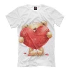 Мужская футболка Плюшевый мишка с большим красным сердцем