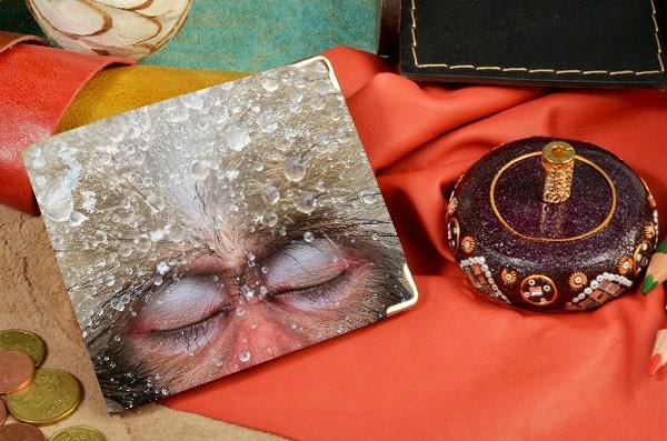 Кожаное бежевое портмоне Мудрая снежная обезьяна