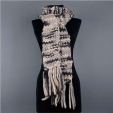Зимний шерстяной женский шарф крупной вязки