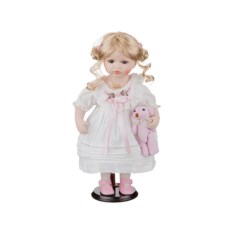 Фарфоровая кукла Лора с мягконабивным туловищем