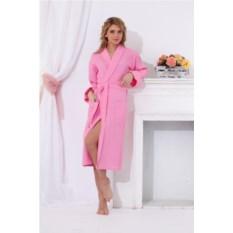 Длинный вафельный халат (розовый)