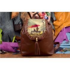 Коричневый кожаный рюкзак с принтом Осеннее настроение