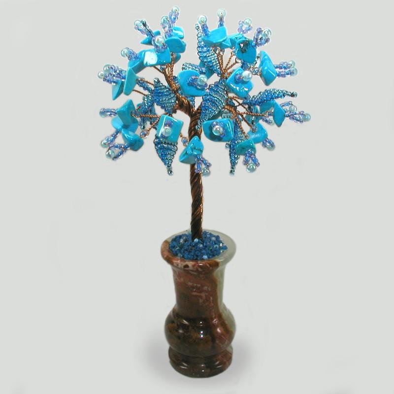 Дерево счастья и удачи из бирюзы в вазочке из оникса