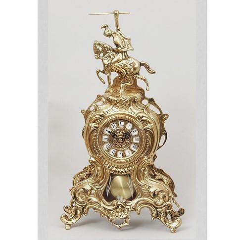 Часы каминные бронзовые с маятником Всадник
