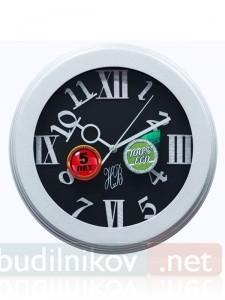 Настенные деревянные часы, 30 см, черные в белой рамке