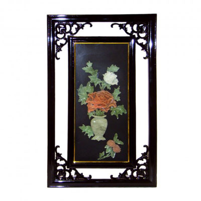 Картина из нефрита «Пион в вазе»