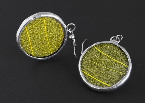 Серьги круглые Желтые листья
