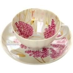 Фарфоровая чашка с блюдцем Розовая сирень