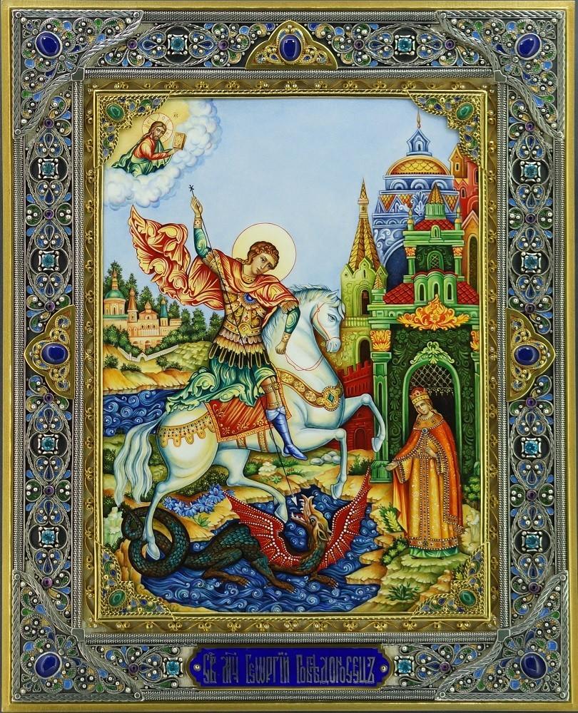 Икона с лазуритом Георгий Победоносец
