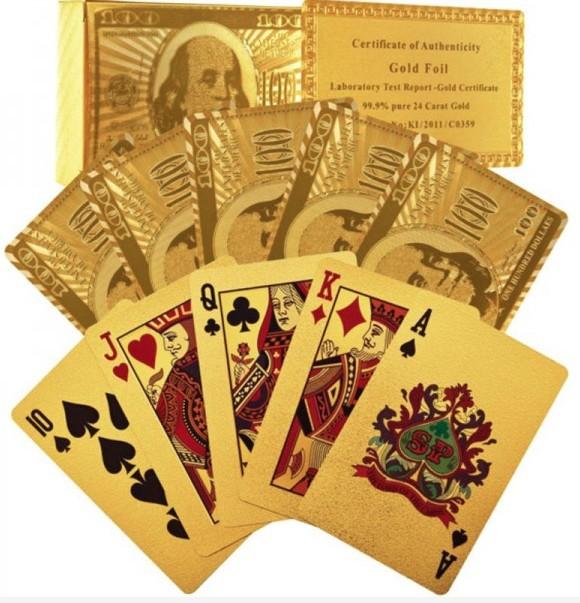 Набор игральных карт Доллар золотой