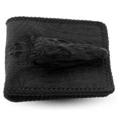 Черный мужской кошелек из кожи с настоящей головой крокодила