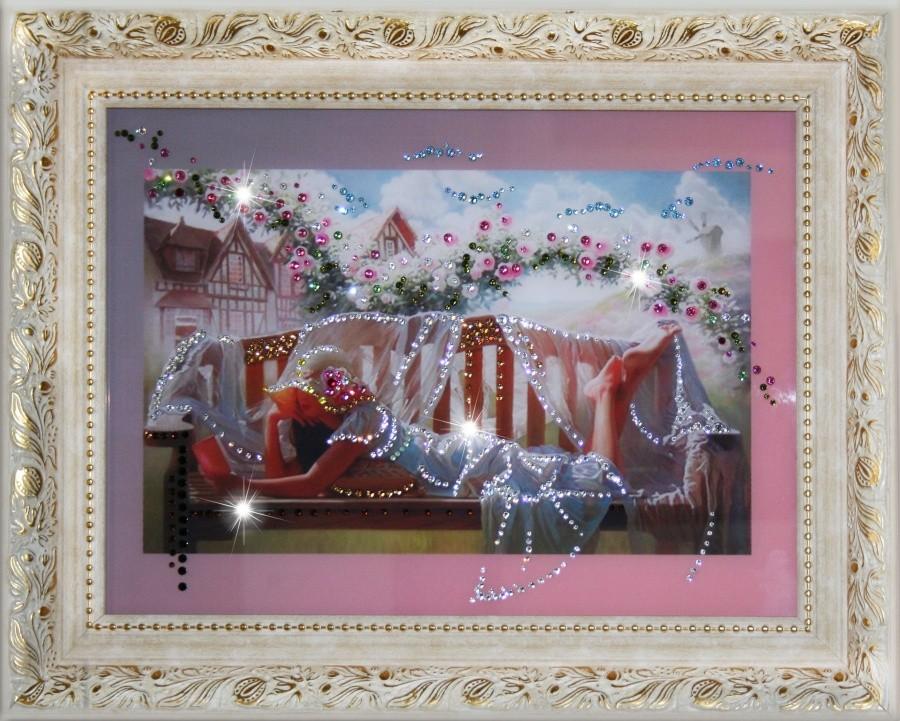 Картина с кристаллами Swarowski В Саду
