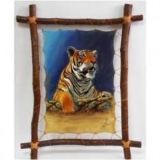 Картина на коже Тигр на охоте