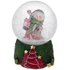 Новогоднее музыкальное украшение Шар. Снеговик с подарками
