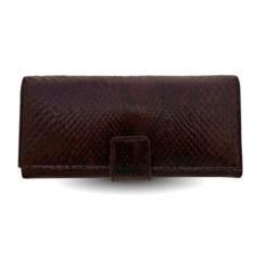 Мужское коричневое портмоне из кожи питона