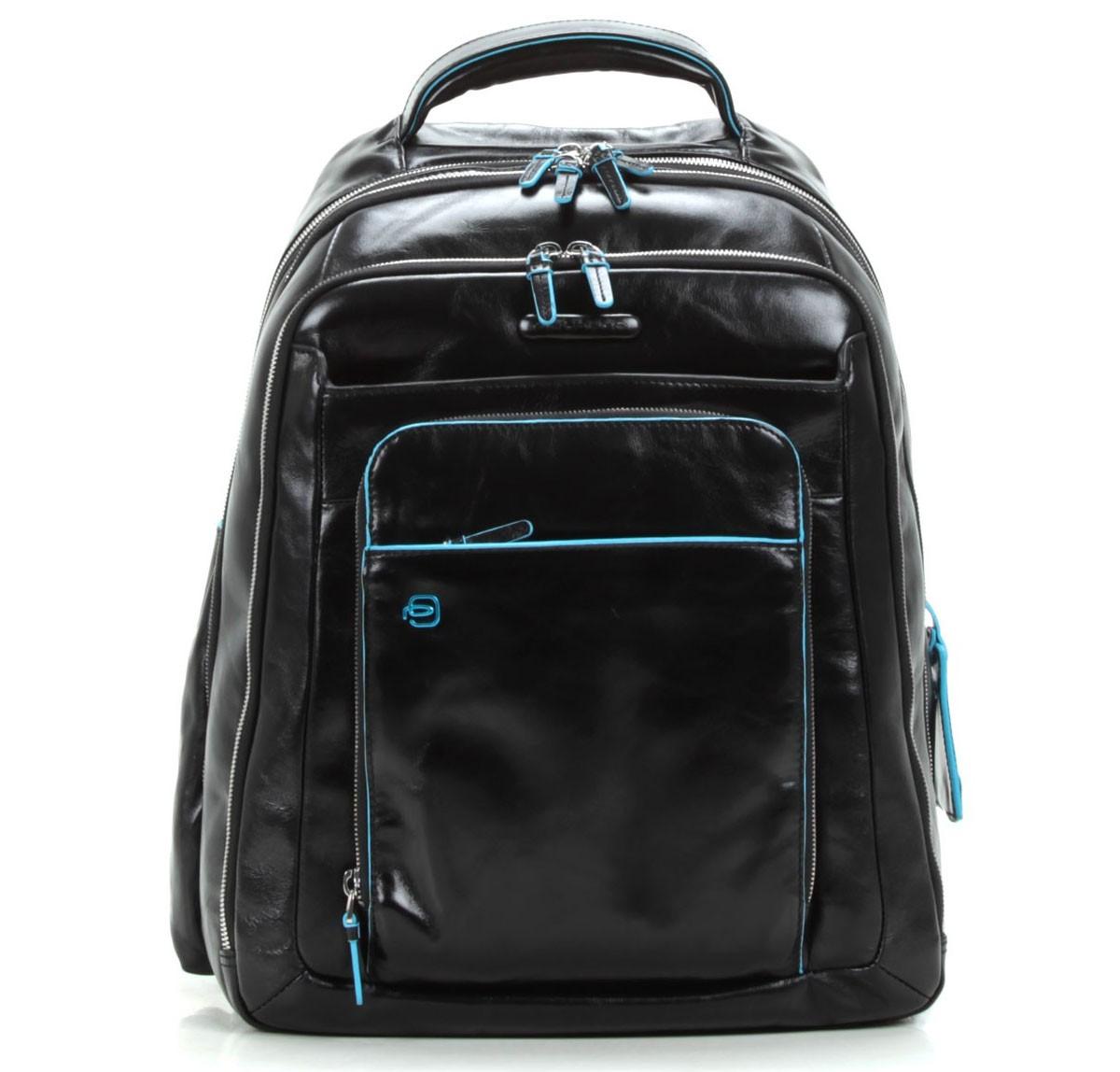Большой черный рюкзак для ноутбука Piquadro Blue Square