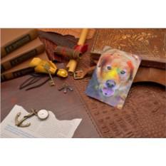 Кожаная обложка для документов Разноцветная собака