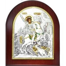 Икона Георгий Победоносец. Святой великомученик, серебро