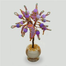 Миниатюрное дерево из сиреневого агата в вазочке из оникса