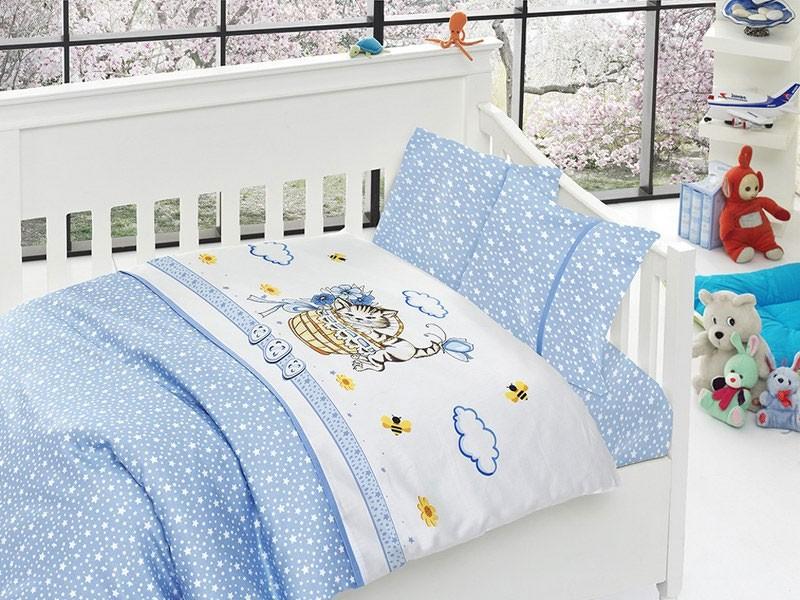 Голубой комплект белья в кроватку из бамбука First Choice
