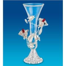 Посеребренная ваза с кристаллами Swarovski Розы