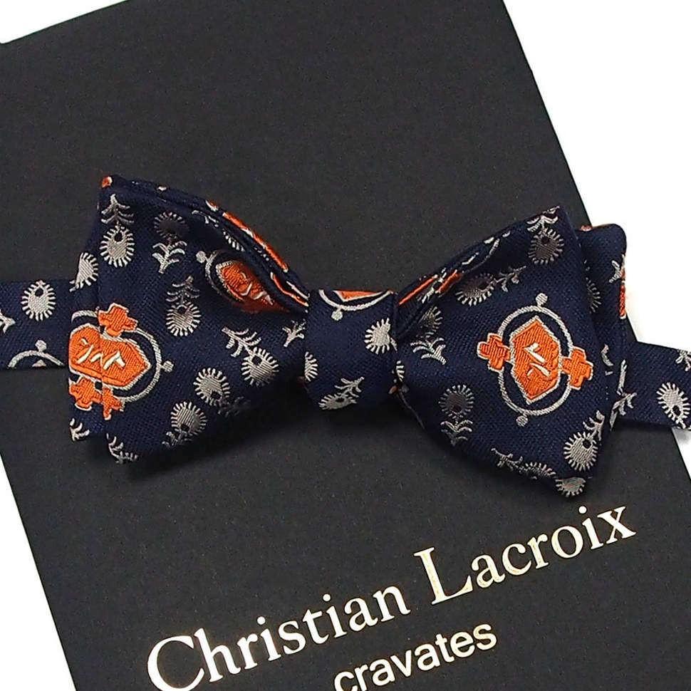 Синяя бабочка с оранжевой вышивкой Christian Lacroix